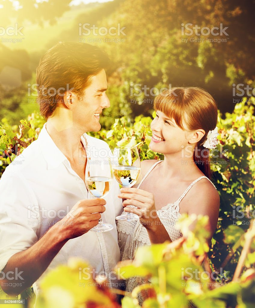Happy young couple in sunny vineyard toast each other, smiling stock photo