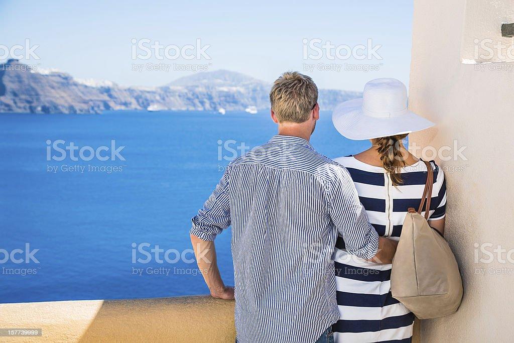 Happy young couple on Santorini island, Greece stock photo
