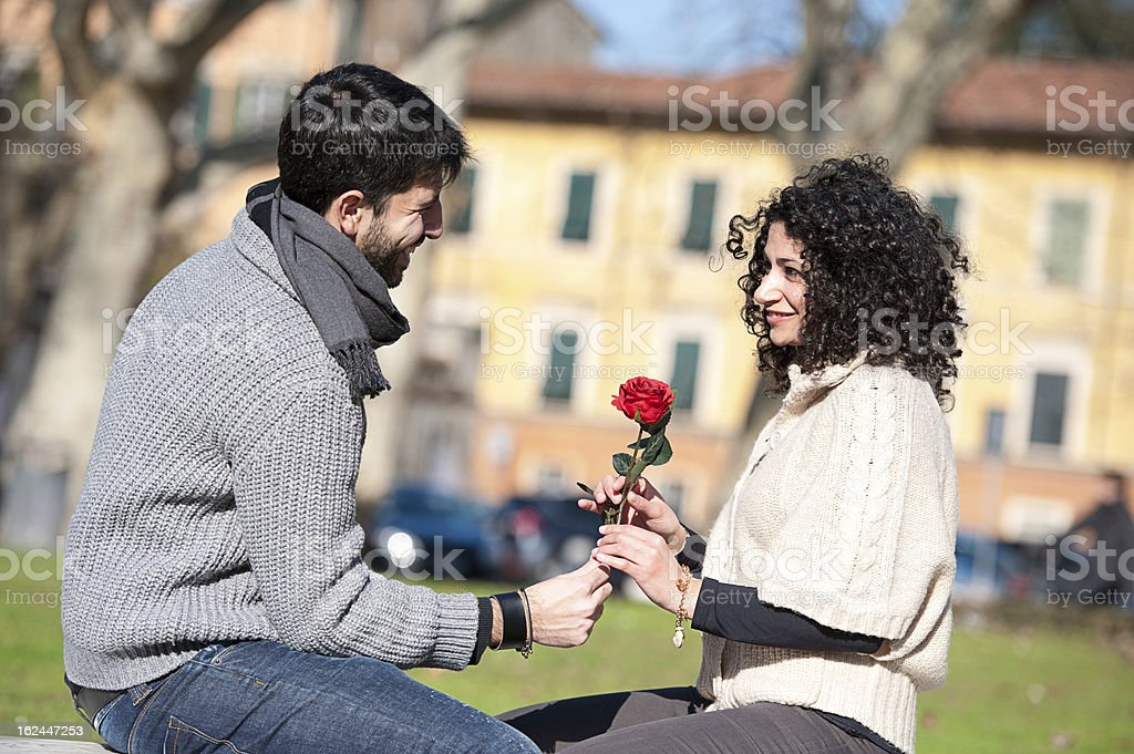 Happy Young Couple on Valentine's Day royalty-free stock photo