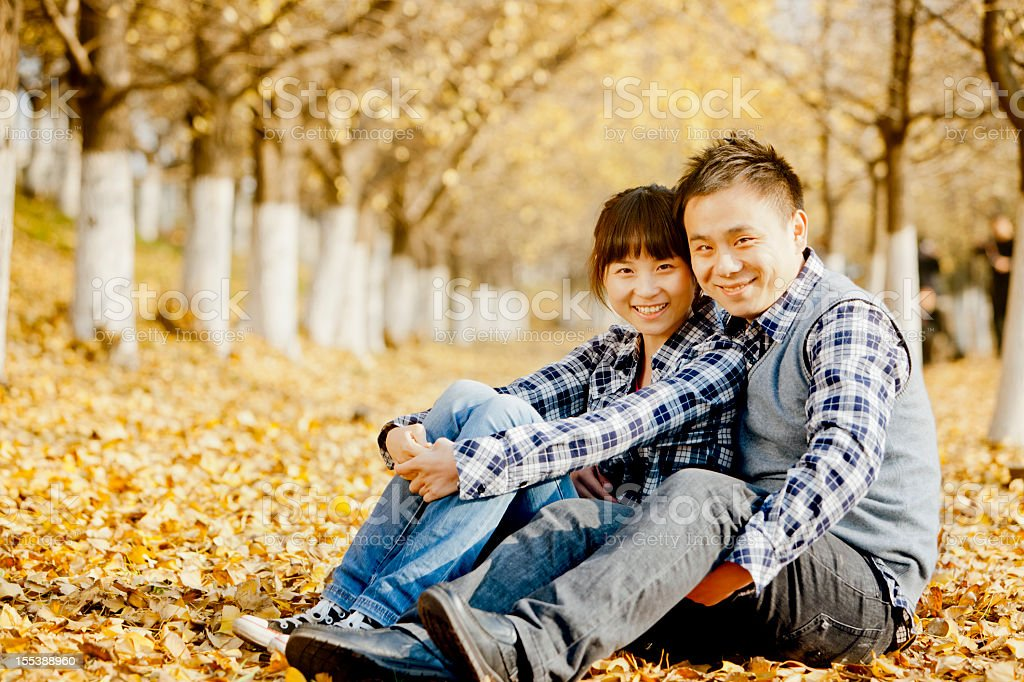 Happy Young couple outdoors portrait royalty-free stock photo