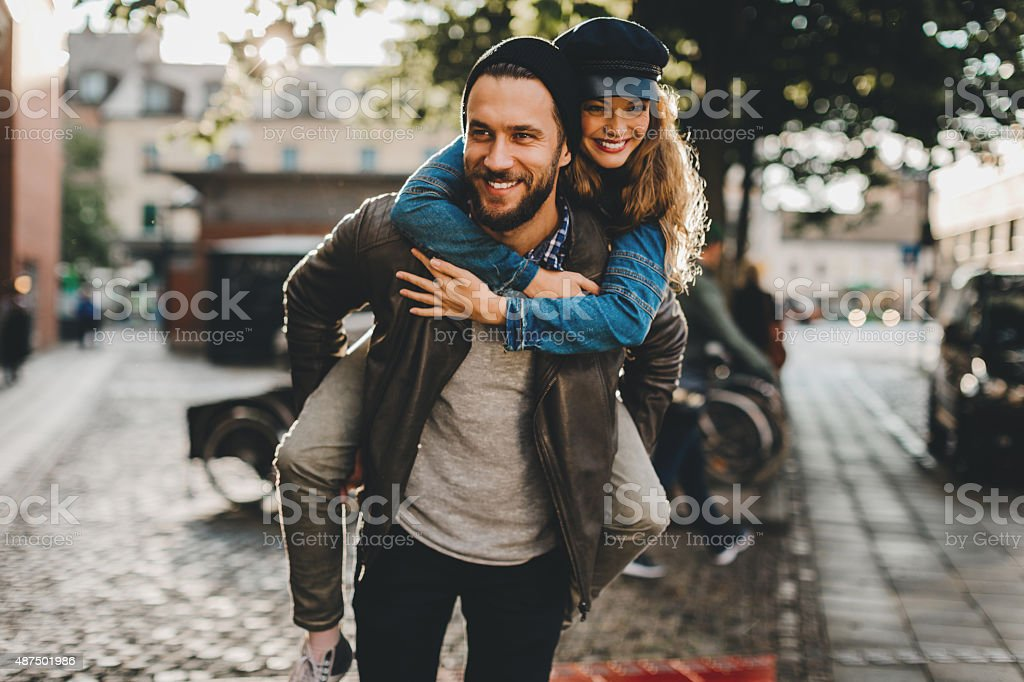 Happy young couple stock photo