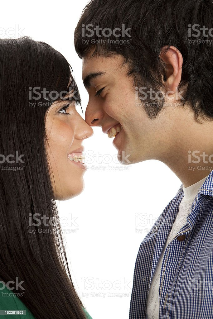 Happy young couple rubbing noses royalty-free stock photo