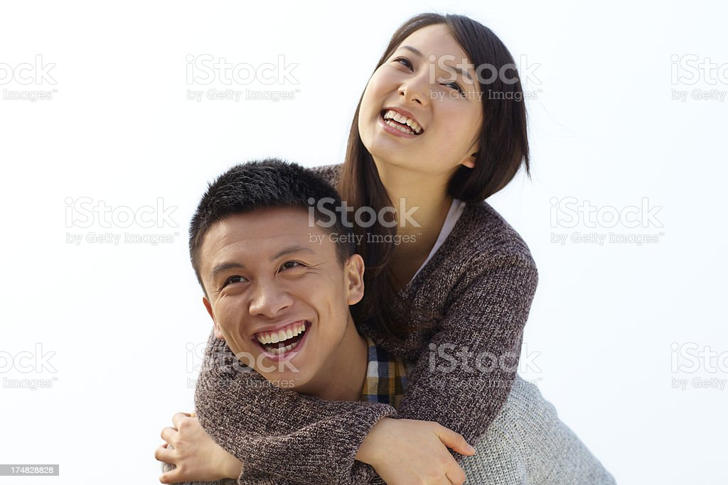 happy young couple together outdoor royalty-free stock photo