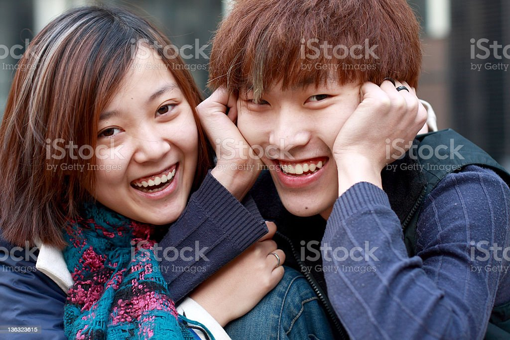 happy young couple together royalty-free stock photo