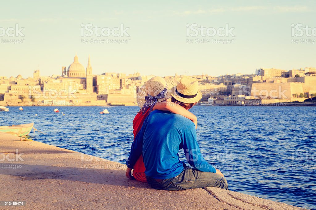 happy young couple travel in Malta, Europe stock photo