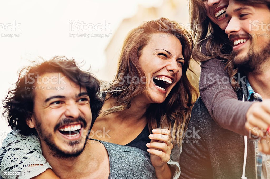 Happy young couples stock photo