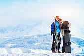 happy young family at ski holidays