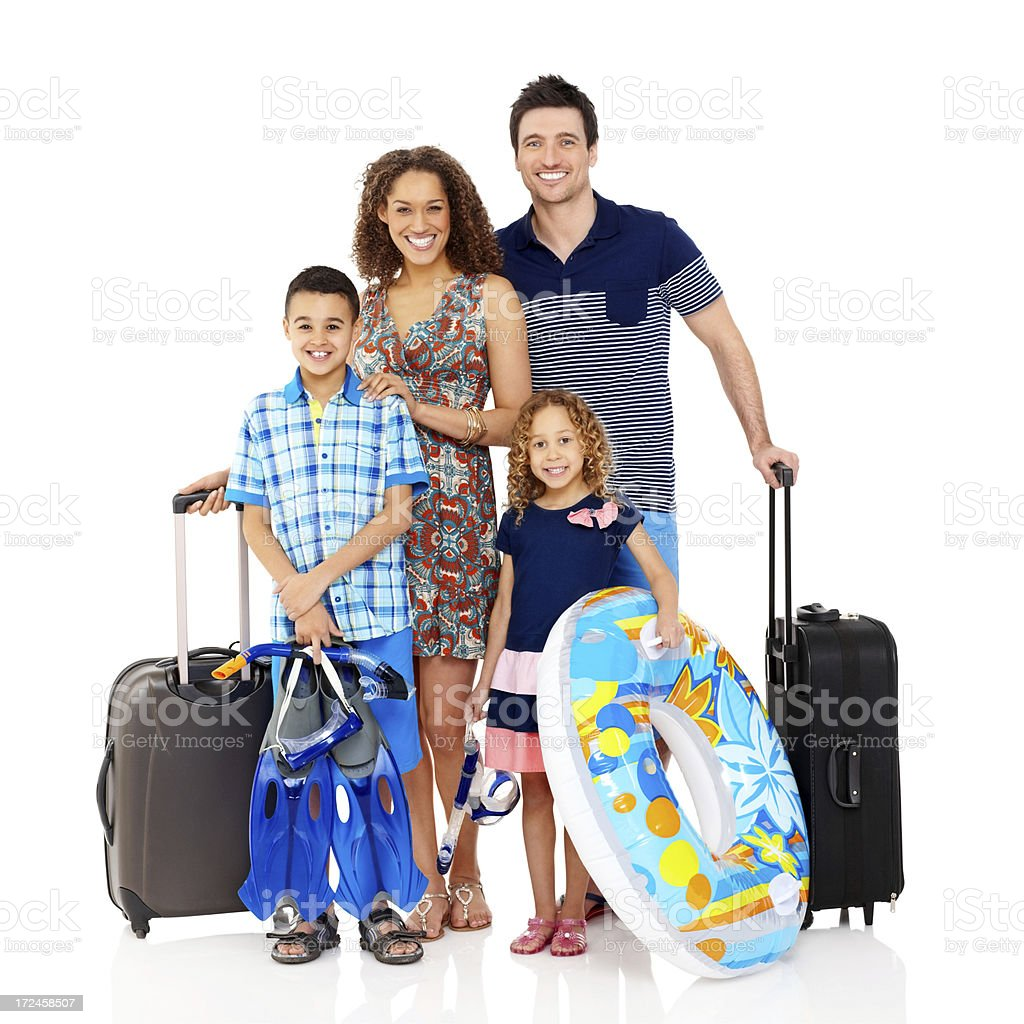 Happy young family going on beach vacation royalty-free stock photo