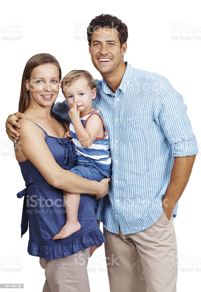 Happy, young family on white background royalty-free stock photo
