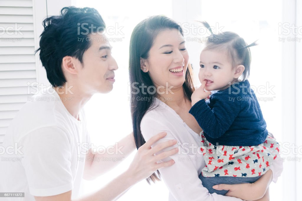 Happy young family portrait stock photo