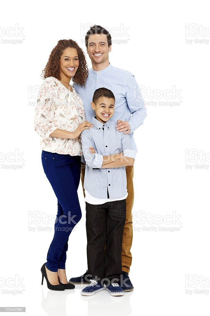 Happy young family with son royalty-free stock photo