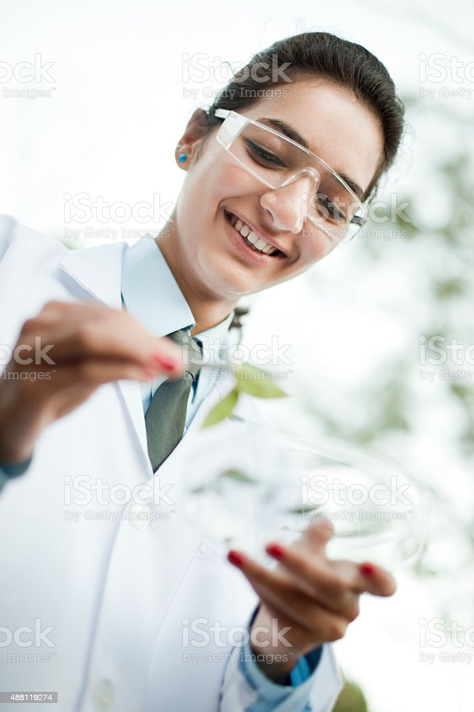 Happy young female Botanist collecting sample of leafs. stock photo