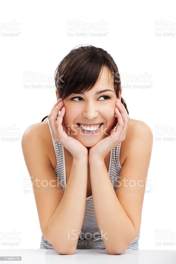 Happy young female looking at copyspace royalty-free stock photo