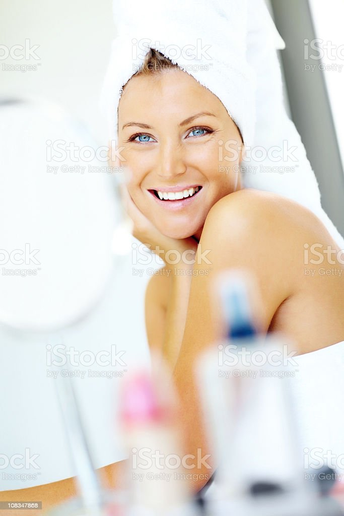 Happy young female looking royalty-free stock photo