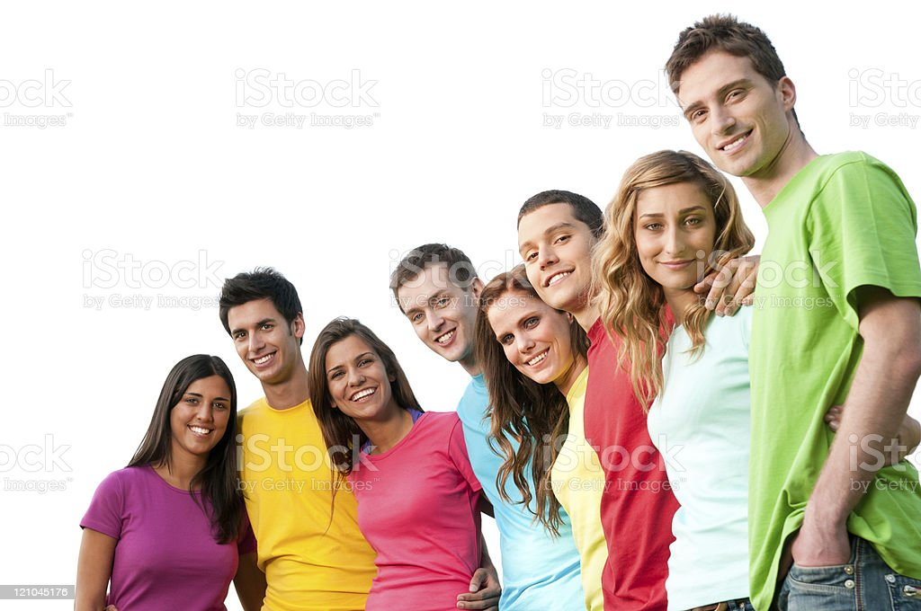 Happy young friends stock photo