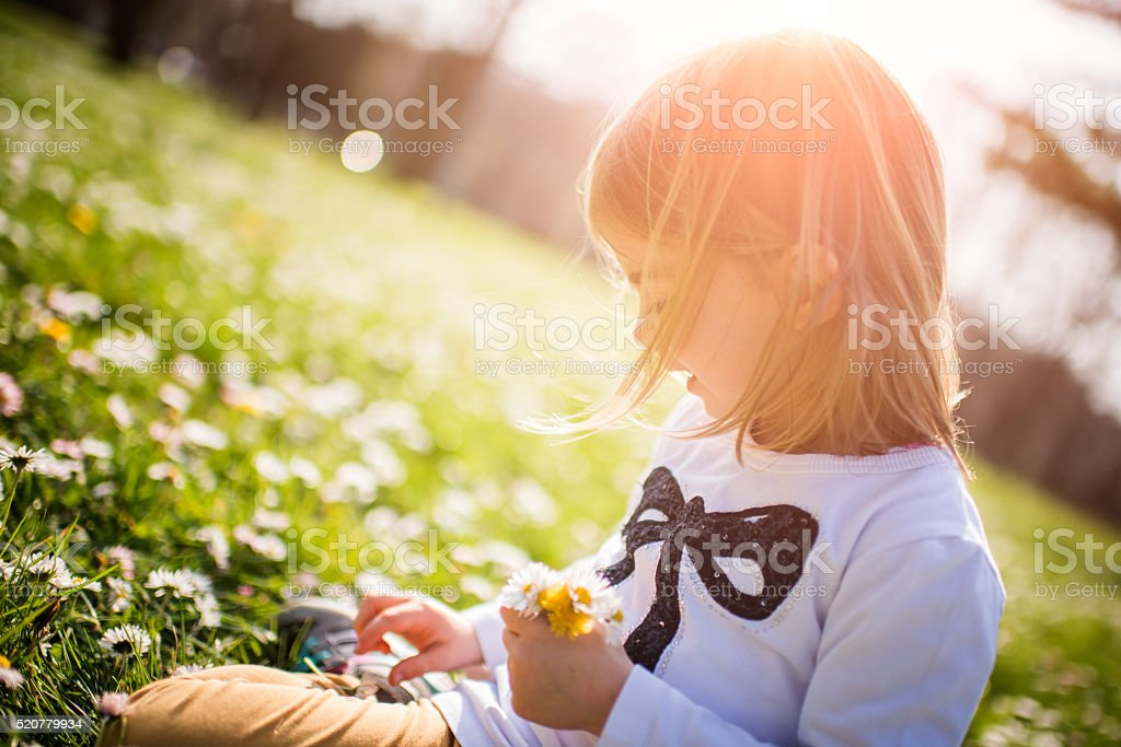 Happy young girl collecting flowers stock photo