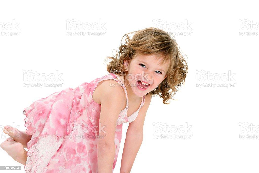 Heureuse jeune fille isolé sur blanc photo libre de droits
