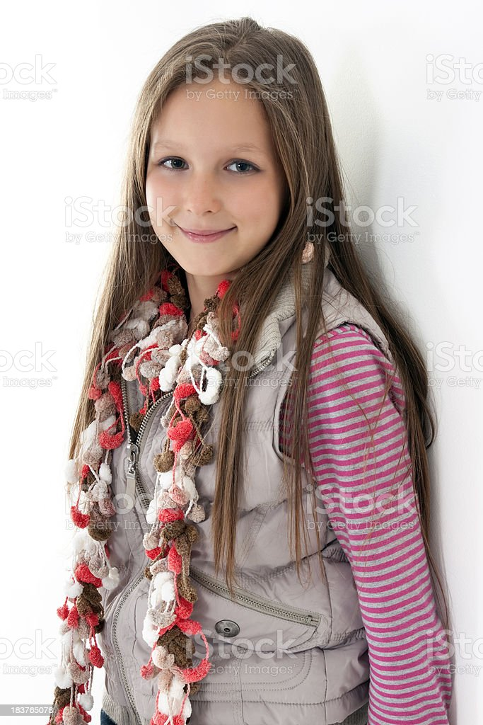 happy young girl on white background royalty-free stock photo