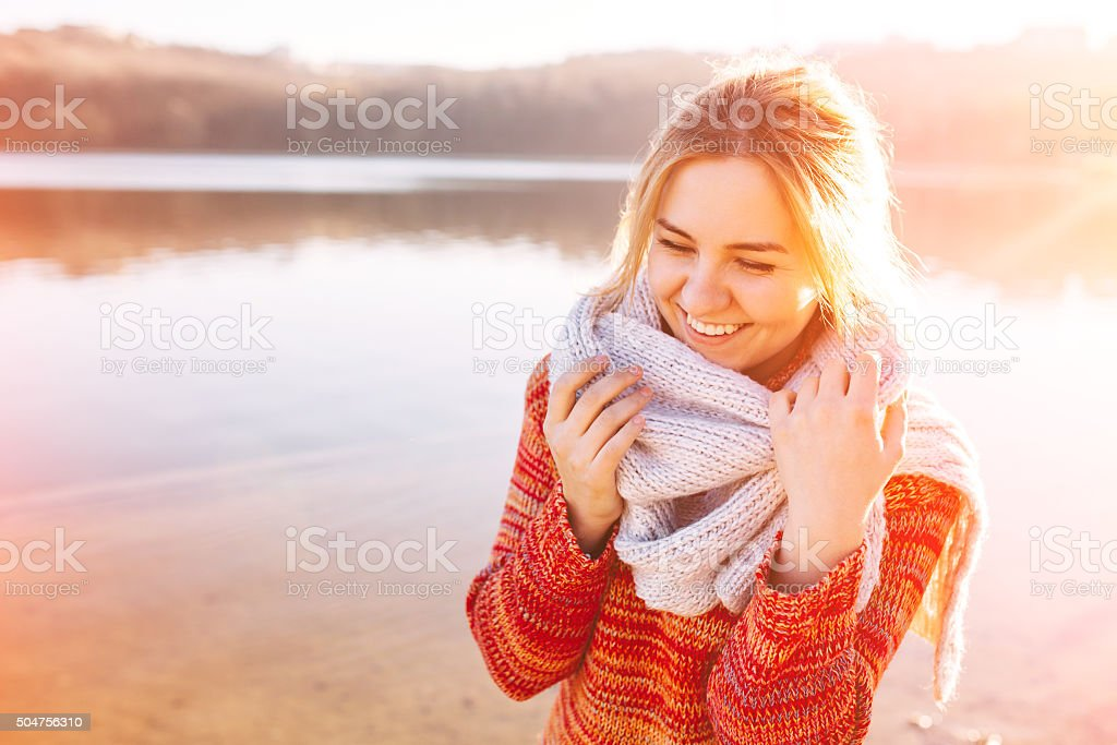 Happy young girl stock photo