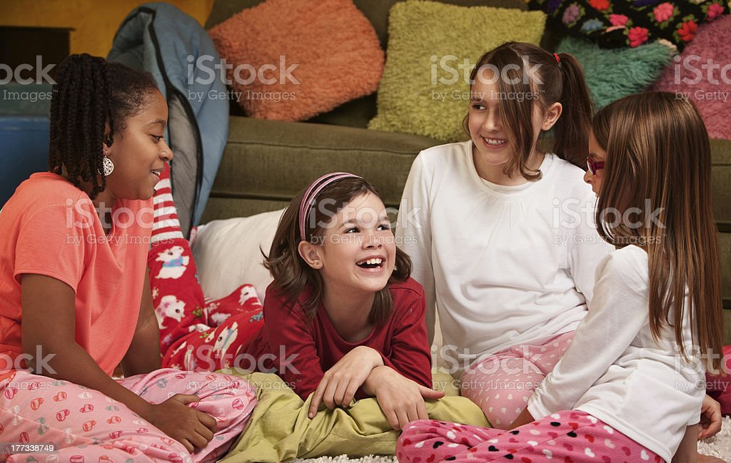 Happy young girls stock photo