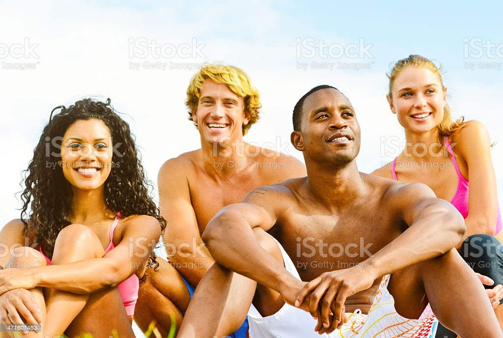 Happy Young Group of Friends enjoying Outdoors royalty-free stock photo