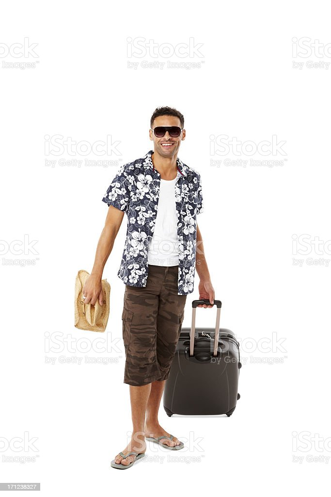 Happy young guy going on vacations royalty-free stock photo