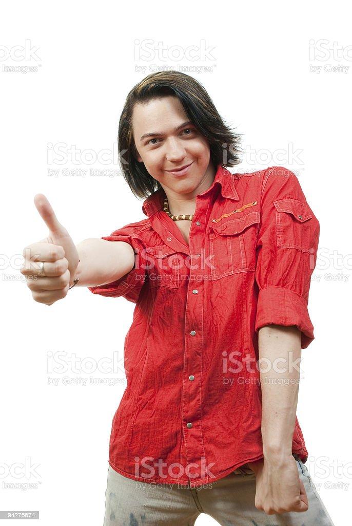 Happy young guy portrait in studio stock photo