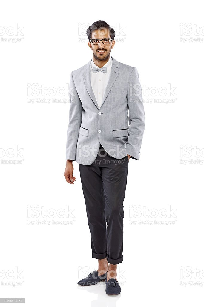 Happy young guy standing on white background royalty-free stock photo