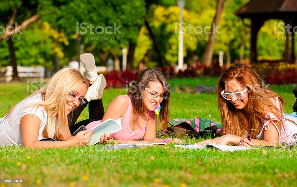 happy young high school students or colloege girls royalty-free stock photo