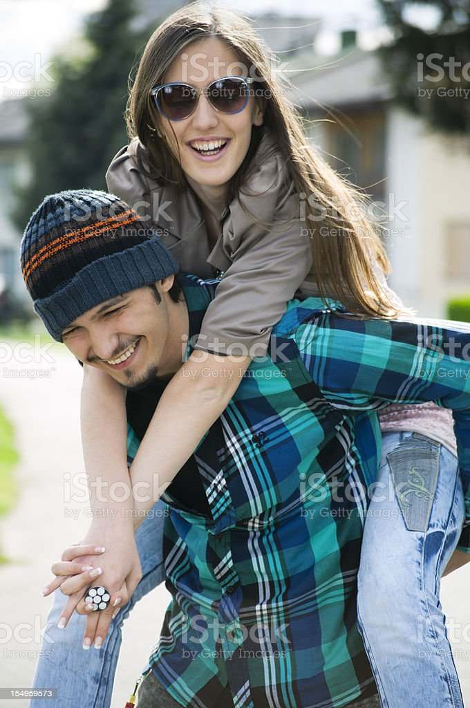Happy young hipsters royalty-free stock photo