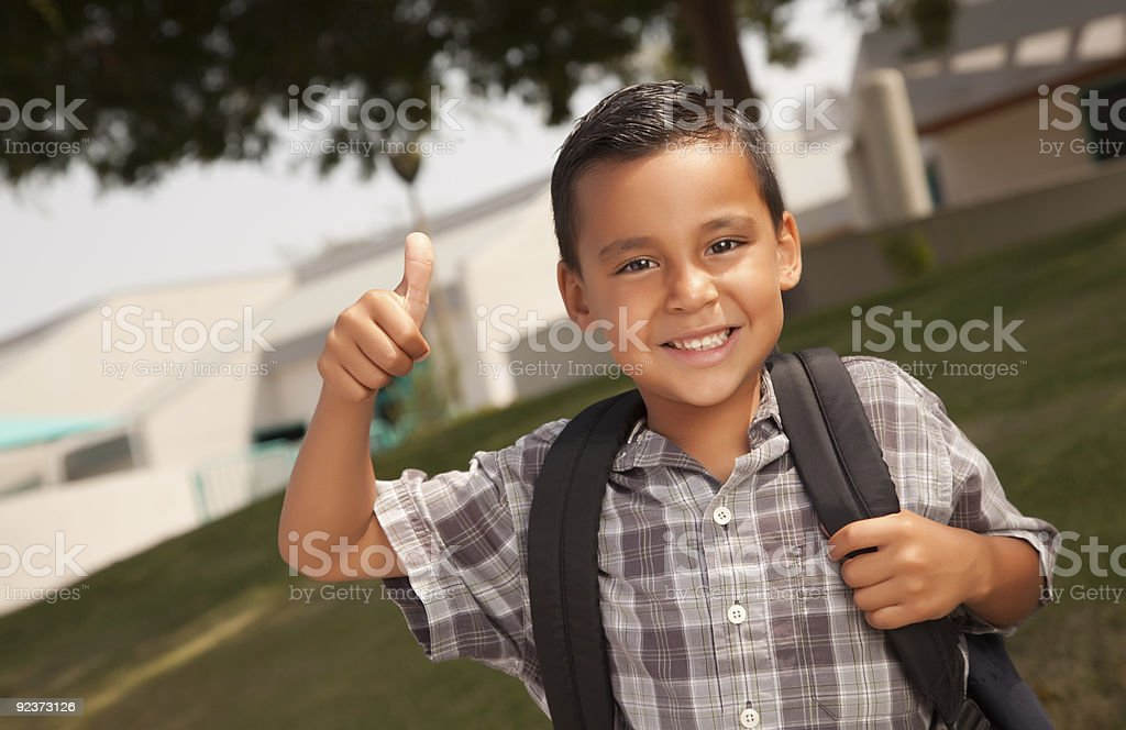 Happy Young Hispanic Boy Ready for School royalty-free stock photo