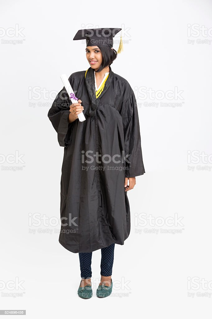 Happy young Indian girl college graduate stock photo