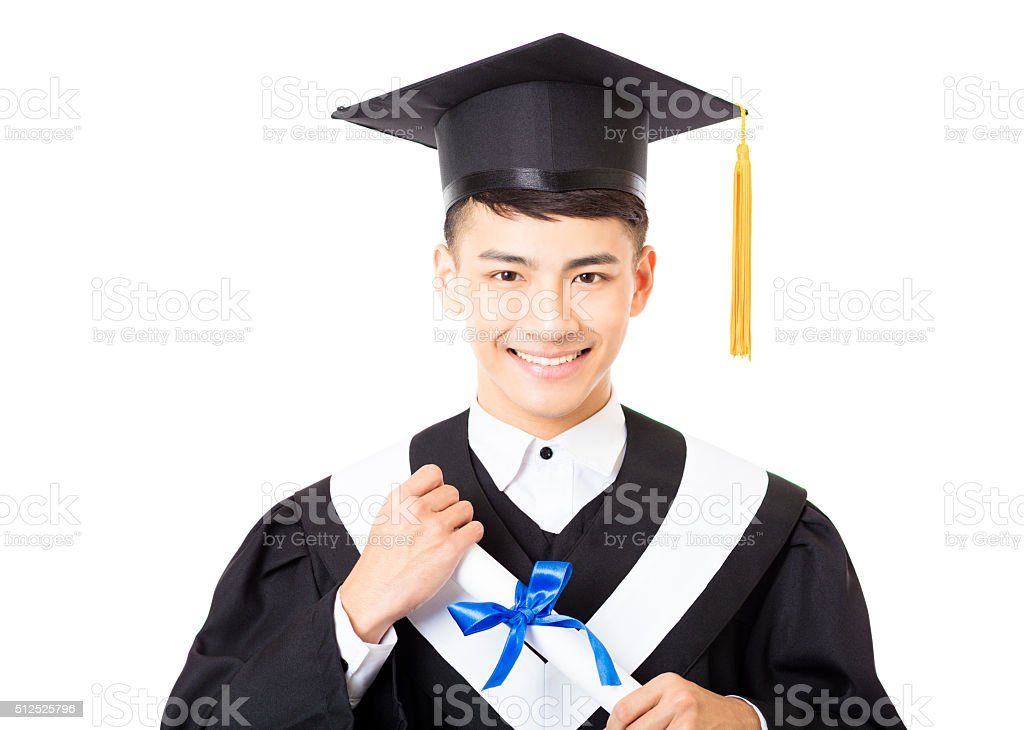 happy young  male college graduate portrait stock photo