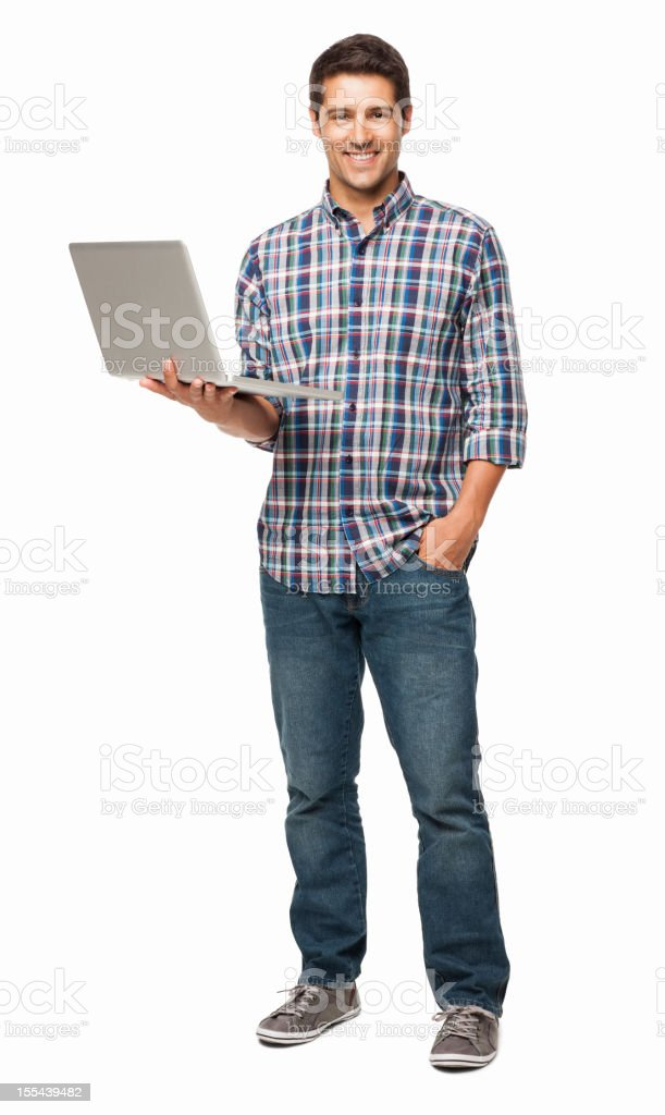 Happy Young Man Holding a Laptop - Isolated royalty-free stock photo