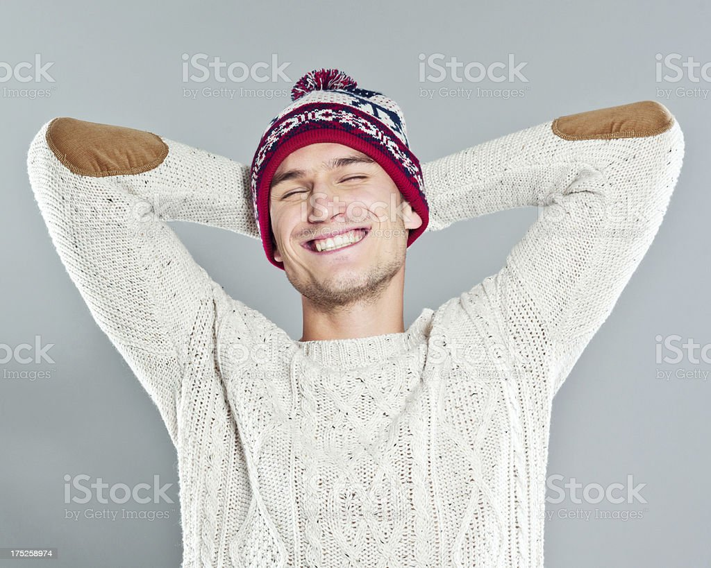 Happy Young Man in Winter Clothing stock photo