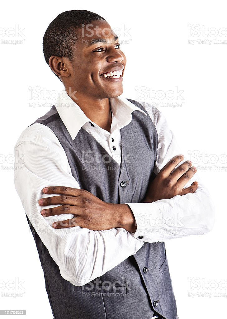 Happy young man looks to side, laughing cheerfully royalty-free stock photo