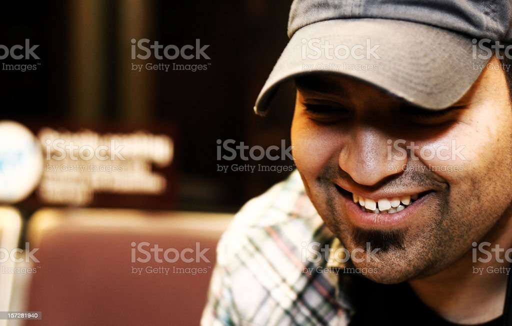 Happy Young Man on Public Transportation royalty-free stock photo