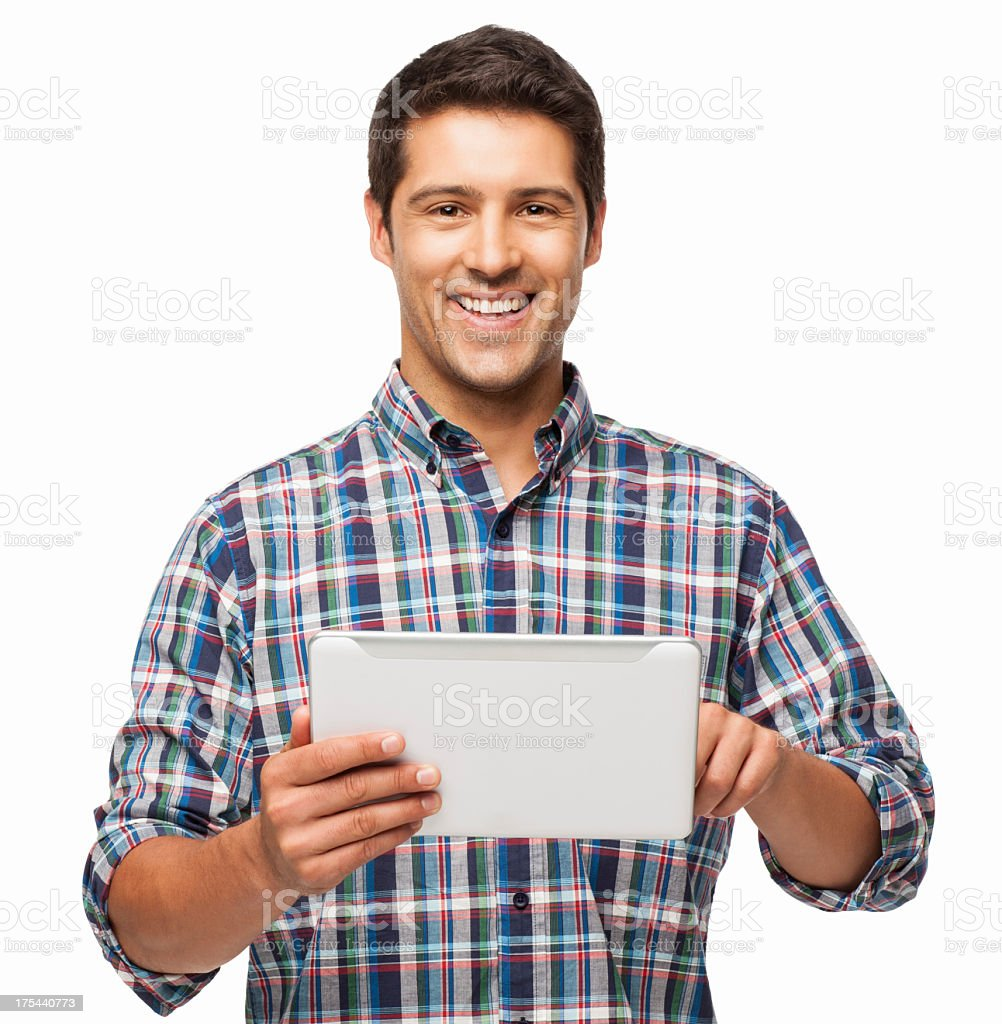 Happy Young Man Using Digital Tablet - Isolated royalty-free stock photo