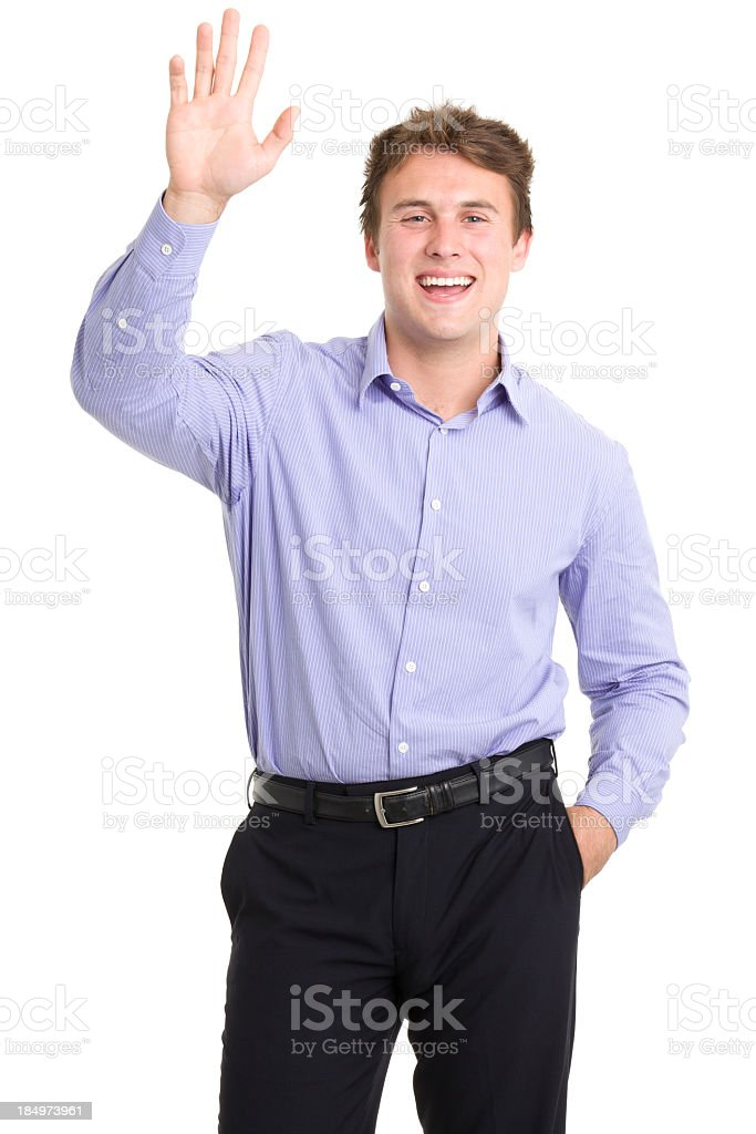 Happy Young Man Waving Hi stock photo