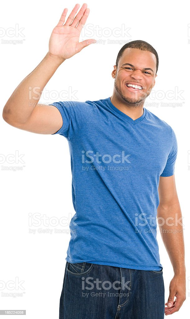Happy Young Man Waving stock photo