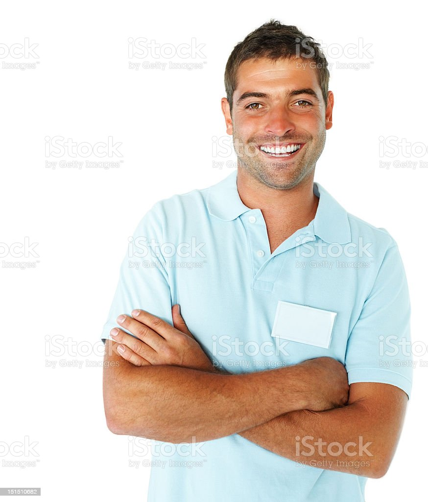 Happy young man with arms crossed royalty-free stock photo