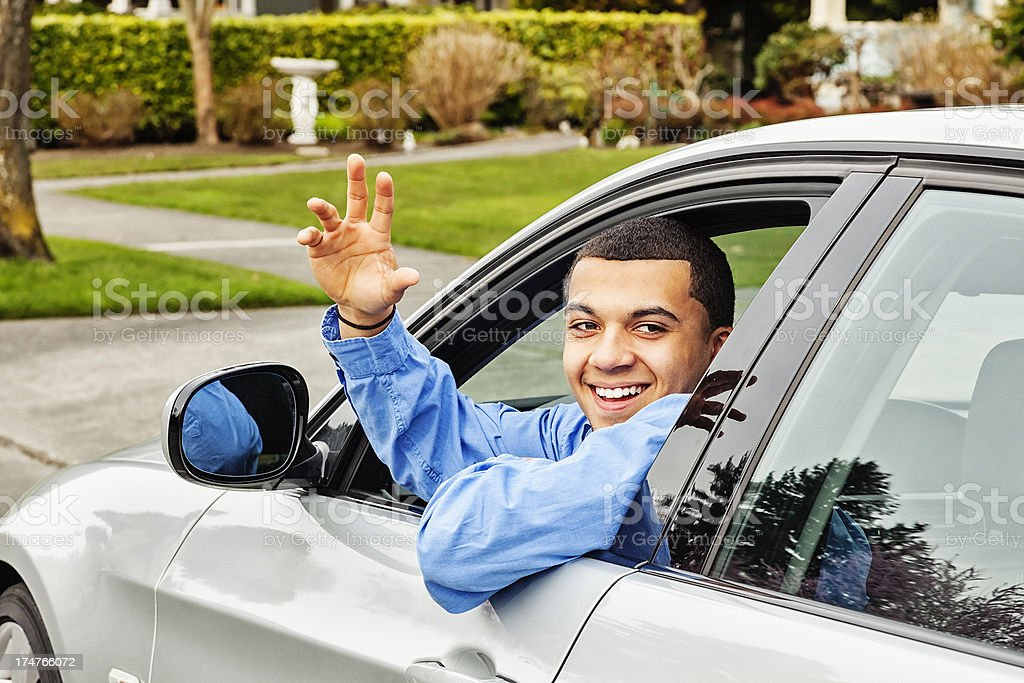 Happy Young Man with New Car stock photo