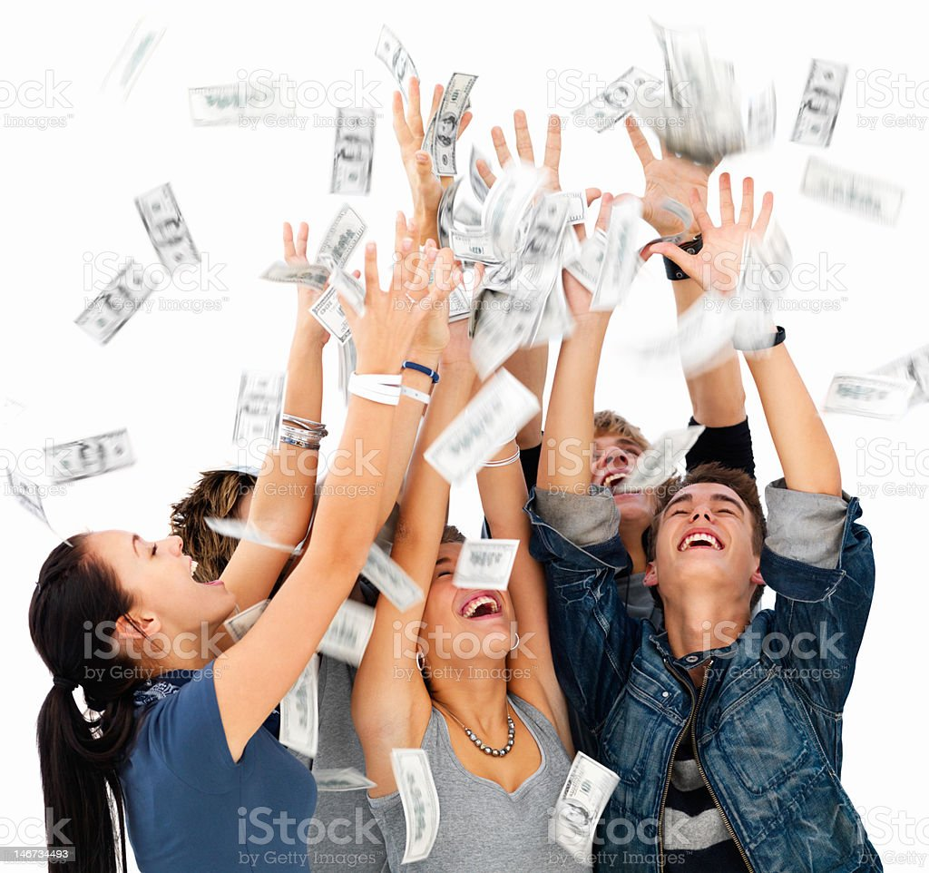 Happy young men and women playing with money royalty-free stock photo
