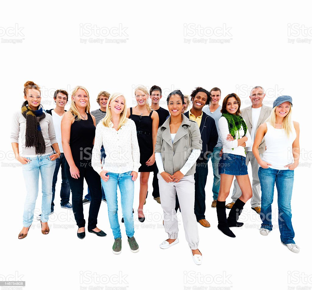 Happy young men and women standing together royalty-free stock photo