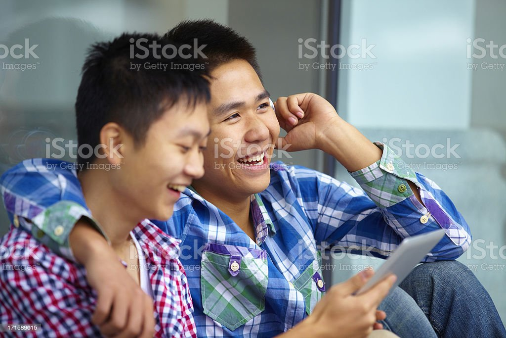 happy young men together royalty-free stock photo
