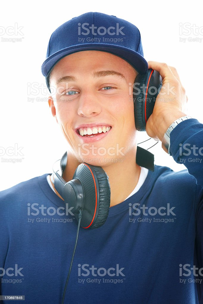 Happy young modern teen listening music royalty-free stock photo