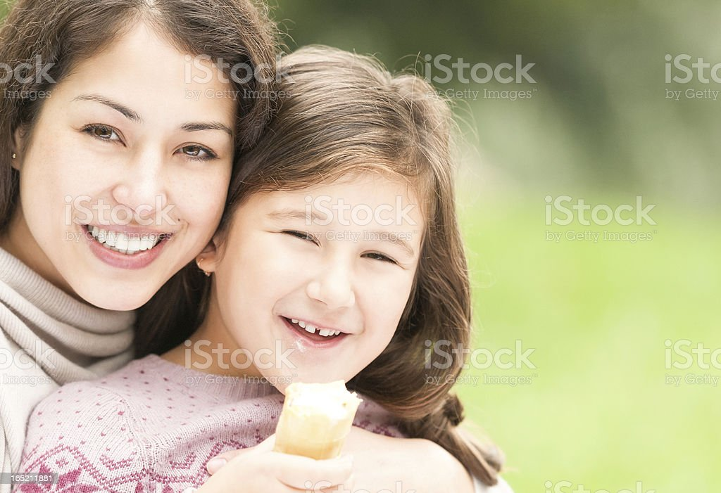 Happy young mother with her small daughter. royalty-free stock photo