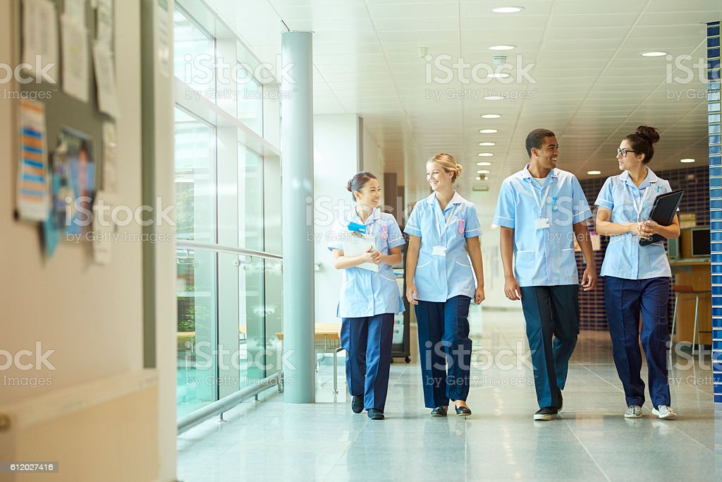 happy young nurse team . stock photo