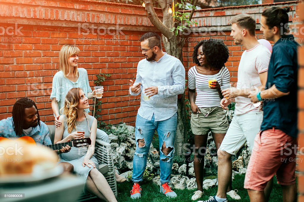Happy Young People At Party. stock photo