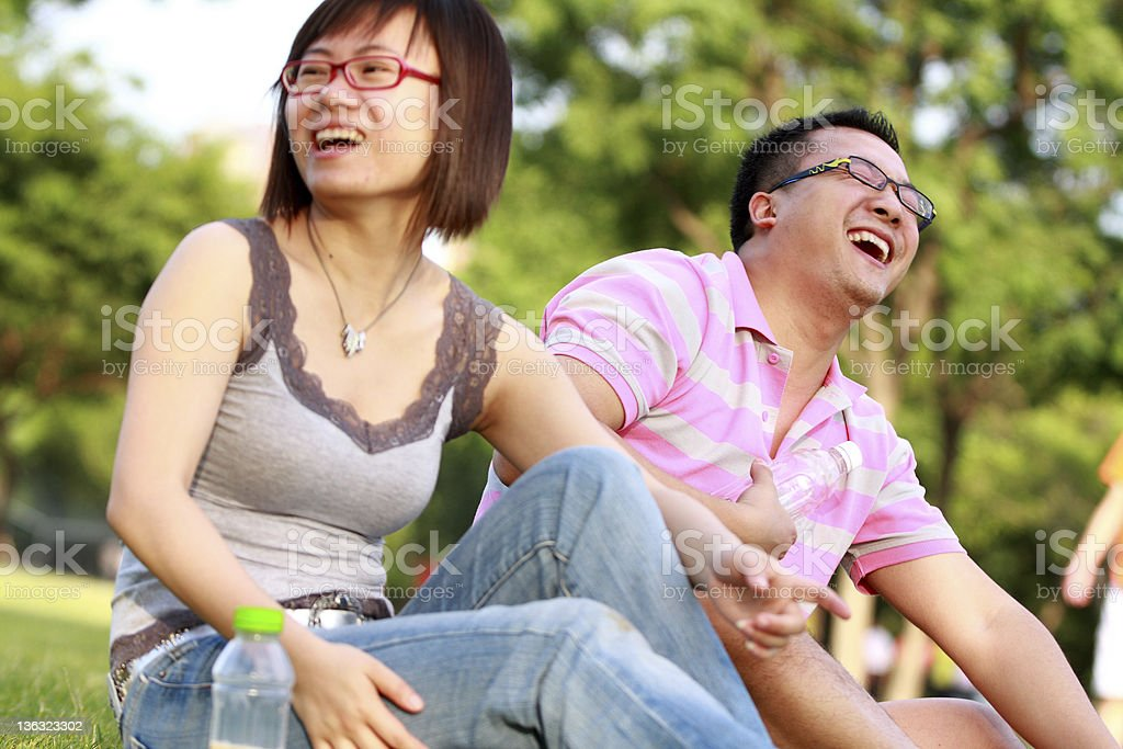 happy young people in the park at weekend royalty-free stock photo